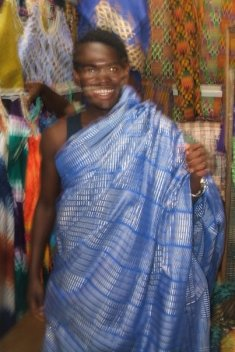 Me wearing a beautiful Kente Cloth
