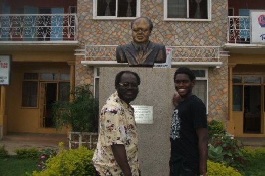 My Dad and I at Dr Yiadom's (my grandfather) hospital