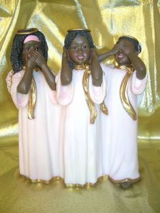 "African American Angel Trio: ""Hear No Evil, See No Evil, Speak No Evil"" found on ebay"